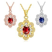 SJCN110 Vogue Noble Bronze 18 K Banhado A Ouro Pave Red & Blue Cubic…
