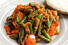 Green beans stewed with tomatoes Bean Stew, Vegetable Recipes, Green Beans, Carrots, Deserts, Dishes, Vegetables, Cooking, Food
