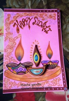 Handpainted and Quilled Diwali card by Litasha