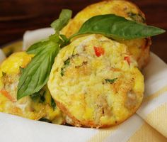 Egg Muffins - this one calls for the addition of cooked sausage but you can use just about any filler.. ham, veggies, etc.. no meat just veggies.... whatever you have on hand really... just think scrambled eggs.  They will store in freezer too just zap enough to warm it and voila' you have breakfast. Lots of cool recipies on the website.