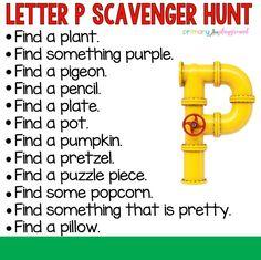 Letter P Scavenger Hunt  #scavengerhunt #letterscavengerhunt #alphabetscavengerhunt #kindergarten #preschool