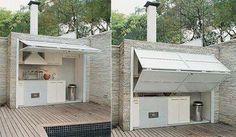 Hidden outdoor kitchen