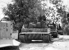 A column of Tiger 1 tanks in the march