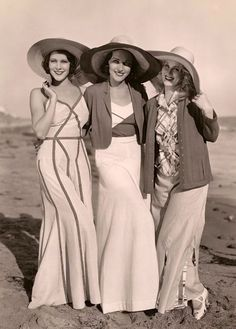 Frances Dee, Adrienne Ames, and Judith Wood wearing 1930s beachwear
