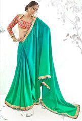 Green Color Crepe Party Wear Sarees : Parinita Collection YF-33174