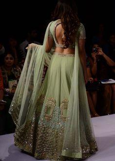 kiara advani walks the ramp in green embroidered-lehenga for ridhi mehra at lakme fashion week - short blouse dresses, floral blouse, womens dress blouses *ad Indian Bridal Lehenga, Red Lehenga, Lehenga Choli, Indian Wedding Sari, Bollywood Wedding, Indian Wedding Outfits, Bridal Outfits, Indian Outfits, Wedding Dress