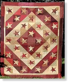 funky red and cream star quilt- 4th of July Quilt idea.