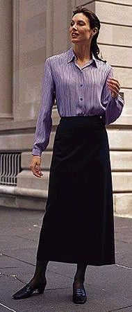 Modest black skirt with striped blouse.  Trading was halted when ...  Chadwicks 1996