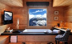 Portfolio, Nicky Dobree, Luxury Ski Chalet Design, This is really a 'wow' bathroom, no need to have the TV! Chalet Design, House Design, Chalet Chic, Chalet Style, Ski Chalet Decor, Alpine Chalet, Log Cabin Bathrooms, Lodge Bathroom, Cozy Bathroom