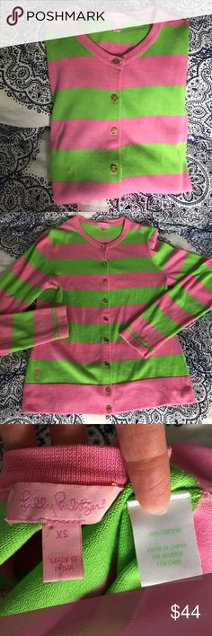 Lilly Pulitzer cardigan Beautiful lilly sweater!  Size XS.  Good preloved condition.  Light weight, 100% cotton.  Gold buttons.  You will love it! Lilly Pulitzer Sweaters Cardigans