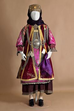 Bridal costume of Stefanoviki, Magnesia, Thessaly Early century ©Peloponnesian Folklore Foundation, Nafplion, Greece The bridal and festive costume of Stefanoviki was the customary dress of. Greek Traditional Dress, Traditional Outfits, Historical Costume, Historical Clothing, Women's Clothing, Empire Ottoman, Textile Museum, Dance Costumes, Greek Costumes