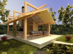 a good gazebo Backyard Office, Wood Logs, Summer Kitchen, Bbq Grill, Log Homes, Gazebo, House Plans, Cottage, Construction
