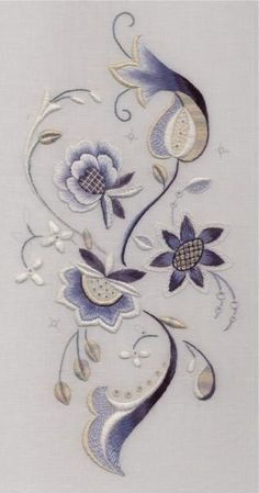 Blue and white stitched by Trish Burr