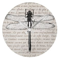 Vintage Dragonfly and Antique Text Collage Wallclock. 26,95 dollars