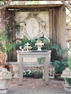 cake display table - photo by Jeremy Chou Photography http://ruffledblog.com/dramatic-wedding-inspiration-at-the-folly-estate