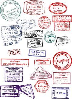 Vector Passport stamps design set 02