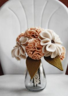 Felt flowers make a gorgeous statement in this handmade bouquet in soft neutral tones!