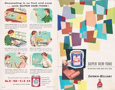 I was digging through the basement at an estate sale a while back, and found a manilla envelope full of vintage paint chip brochures - you g. Vintage Paint Colors, Interior Window Shutters, Retro Caravan, Color Harmony, Mid Century Art, Mid Century Modern Design, Decorating Blogs, Vintage Advertisements, Vintage Ads