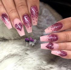 60 Simple Valentine's Day Nail Art Designs 2019 These trendy Nails ideas would gain you amazing compliments. Check out our gallery for more ideas these are trendy this year. Gorgeous Nails, Love Nails, Pink Nails, Glitter Nails, Pretty Nails, Pink Glitter, Sparkle Nails, Cute Red Nails, Stiletto Nails