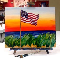 "Summer sunsets and summer sangrias help us look forward to the fourth of July. ""American Flag on the Beach"" offered at Painting with a Twist studios this summer!"