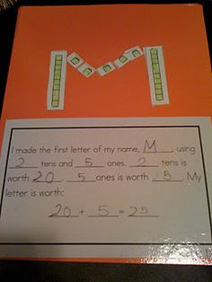 Place Value Initials- Love it! Do with decimals/fractions for 3rd graders . For Kindergarten, I was thinking with Tens frames