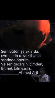 Seni bütün şafaklarfa, Evrenlerin o ıssız ihanet Saatinde öperim Ahmed Arif