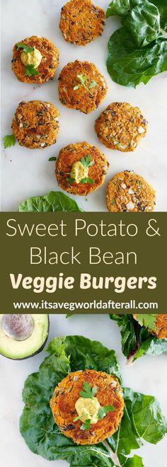 Sweet Potato and Black Bean Burgers - an easy veggie burger recipe that's loaded with flavor and doesn't fall apart! Great for BBQs, weeknight meals, and meal prep. hackfleisch Sweet Potato and Black Bean Burgers Black Bean Veggie Burger, Black Bean Burgers, Easy Veggie Burger Recipe, Vegetable Recipes, Vegetarian Recipes, Healthy Recipes, Veggie Food, Hamburger Vegetarien, Quinoa