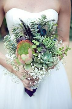 peacock succulent bouquet