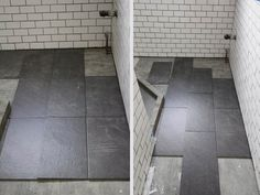 For my bathroom renovation, I finally decided on large slate tiles for the bathroom floor. I found exactly what I was looking for at Lowe's and didn't have to go to a tile specialty store.