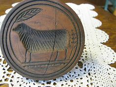 ANTIQUE WOODEN BUTTER MOLD LAMB/WHEAT/LEAF MOTIF ?..