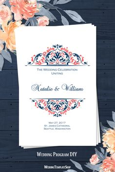 Printable Wedding Program, Navy Blue & Coral, DIY Templates in Grace Design Series.