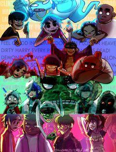 Gorillaz Phase 1 Phase 2 Phase 3 and Phase Gorillaz Band, Gorillaz Fan Art, Vocaloid, Jamie Hewlett Art, Sunshine In A Bag, Monkeys Band, Cultura Pop, Cartoon Art, Cartoon Characters