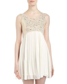Pleated Skirt Arced Dress, Ivory by Romeo & Juliet Couture at LAST CALL BY NEIMAN MARCUS