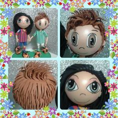 Fondant Hair, Eva Hair, Clay People, Biscuit, Fondant Figures, Cute Chibi, Wood Toys, Quilling, Polymer Clay