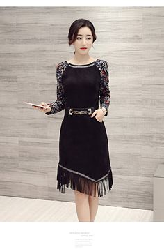 Snow velvet fringed dress