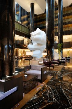 ::: Lobby Lounge at Park Hyatt Hyderabad, designed by HBA/Hirsch Bedner Associates.