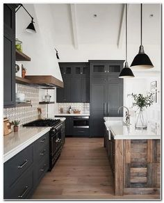 Here are the Black White Wood Kitchens Design Ideas. This post about Black White Wood Kitchens Design Ideas was posted under the Kitchen category by our team at May 2019 at pm. Hope you enjoy it and don't . Industrial Farmhouse Kitchen, Industrial Kitchen Design, Modern Farmhouse Kitchens, Country Kitchen, Kitchen Interior, Home Kitchens, Kitchen Black, Kitchen Modern, French Industrial Decor