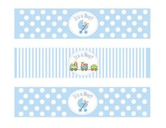 Printable Baby Shower Boy Theme Water Bottle by DesignsByDVB