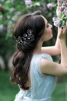 Купить Веточка в прическу - белый, украшение для волос, свадьба, выпускной, свадебное украшение, свадебная диадема