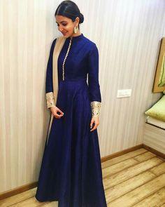 shaliniboutique - Anushka Sharma Taffeta And Silk Party Wear Anarkali Suit In Blue Colour Indian Attire, Indian Ethnic Wear, Indian Outfits, Indian Gowns Dresses, Pakistani Dresses, Kurta Designs, Party Kleidung, Indian Designer Suits, Anarkali Dress