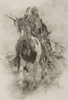 2006 Charcoal on Paper  x Silver Medal for Drawing, Cowboy Artists of America Exhibition and Sale, Phoenix Art Museum Native American Drawing, Native American Tattoos, Native American Warrior, Native American Paintings, Native American Pictures, Indian Paintings, Phoenix Art Museum, Cowboy Art, American Indian Art