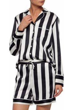 ab66125d8c Devon striped silk-blend satin pajama set