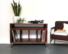 Condor Stacked Media Console, Small 100cm / Medium 120cm Vinyl Record Storage, Solid Wood on Minimalist Metal Legs