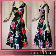 Fab! Vintage 80s Rockabilly Hawaiian Lilly Swing 50's Style Dress #vintage #rockabilly  http://www.ebay.co.uk/itm/Vintage-1980s-Rockabilly-Printed-Hawaiian-Lilly-Swing-50s-Style-Dress-UK14-/282027949834?ssPageName=STRK:MESE:IT