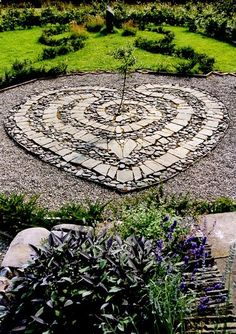 heart mosaic in garden path