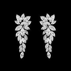 Marquise CZ Cluster Wedding Drop Earrings-Affordable Elegance Bridal -