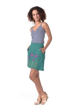 Synergy Organic Clothing | Tulip Pocket Skirt in Marina - Tulip - Shop By Appliqué
