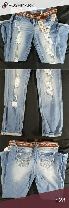 Wallflower Skinny Distressed Jeans Skinny, distressed, light-wash jeans with sewn in backing behind distressing on front also comes with belt. NWT Firm price. Wallflower Jeans Skinny