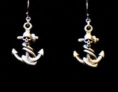 """Until Death, Inc. """" Anchor & Skull """" Solid .925 Sterling silver.Dangle Earring Pair"""