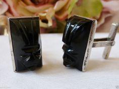 Vintage Obsidian Sterling Aztec God Tribal Mask Cufflinks Signed cuff Links